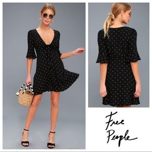 Free People All Yours Polka Dot Tie-Front Dress